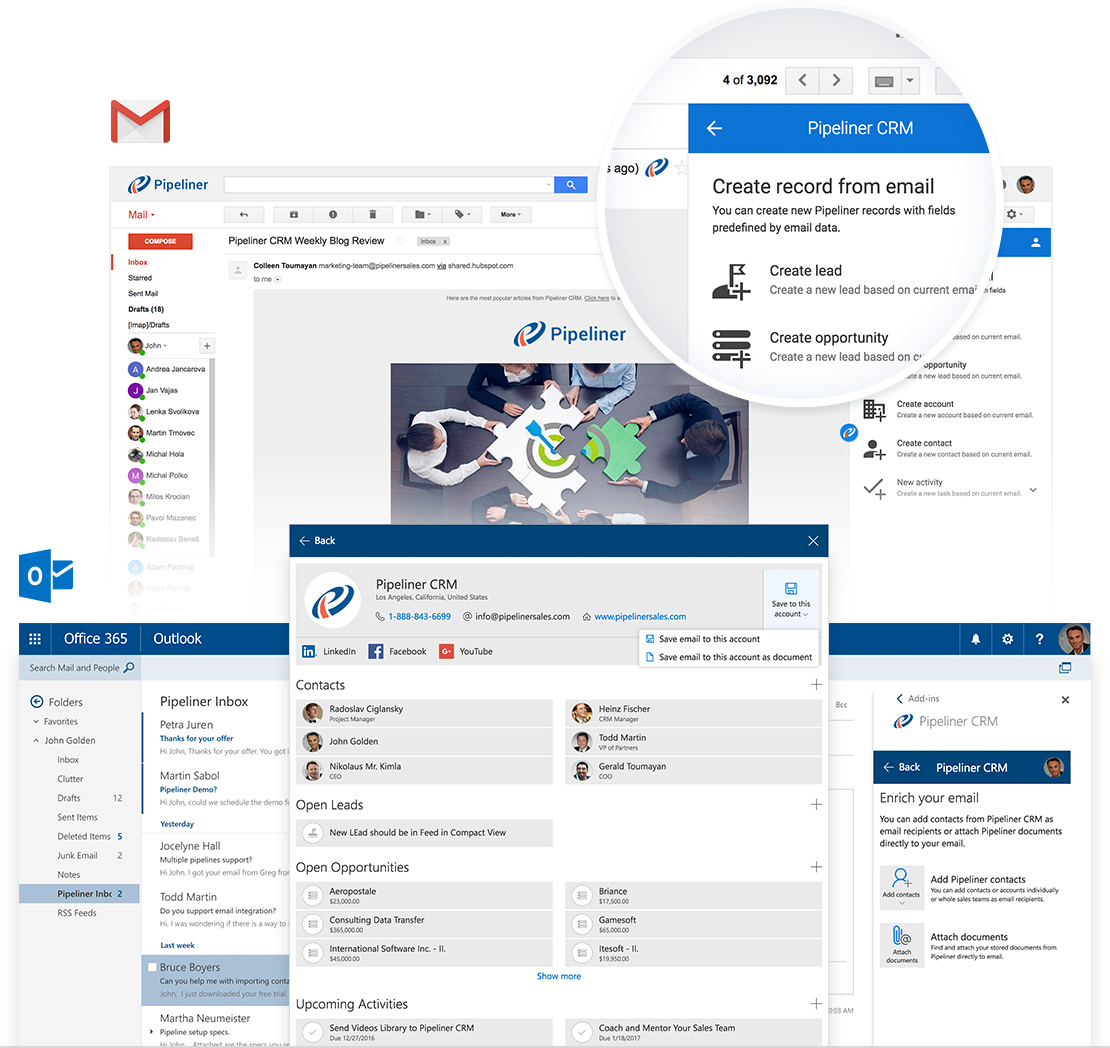 Pipeliner CRM: Outlook & Gmail Addin