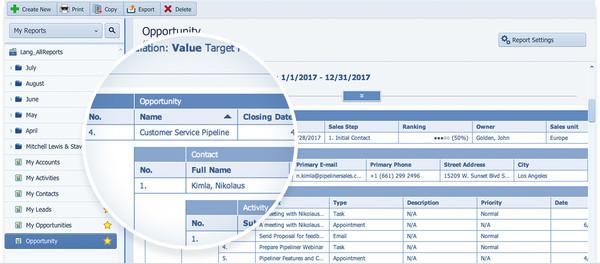 Sales Advance Report Builder - Pipeliner CRM