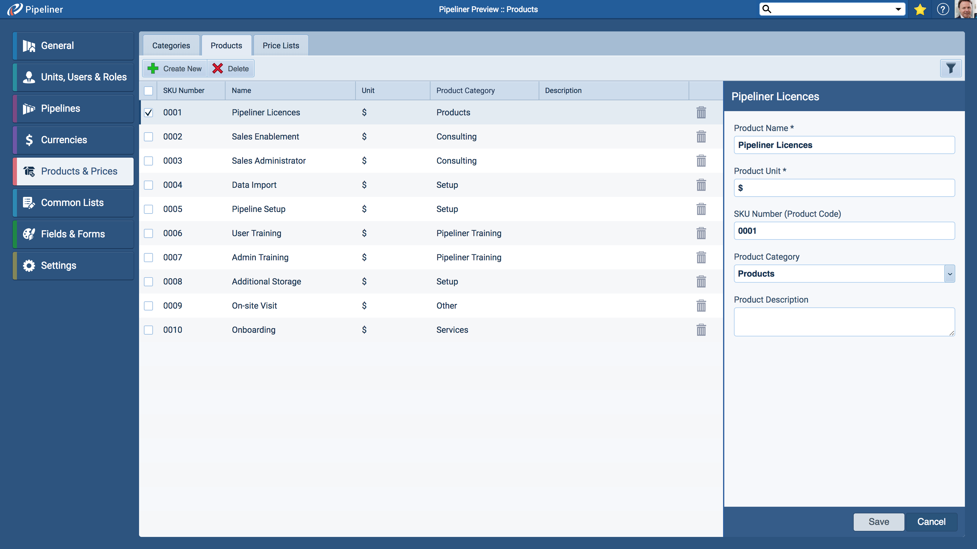 Product Catalog Administration