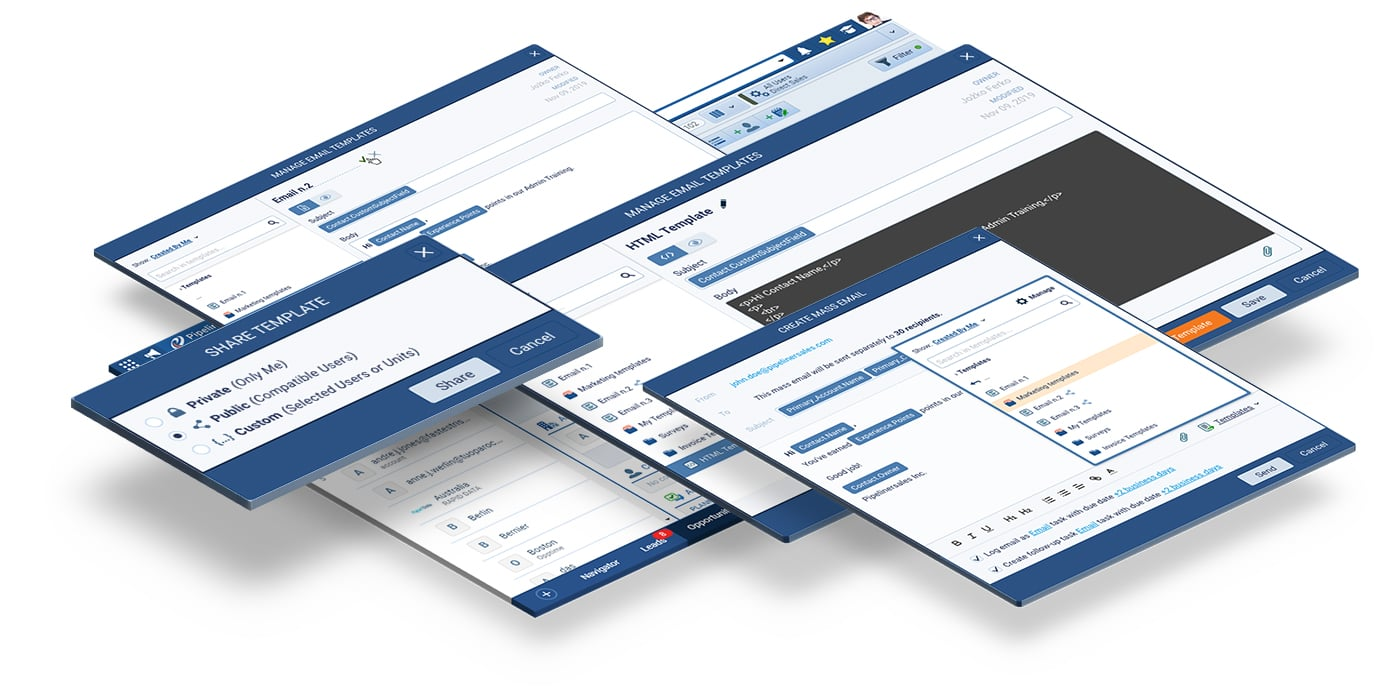 Email templates for Pipeliner CRM