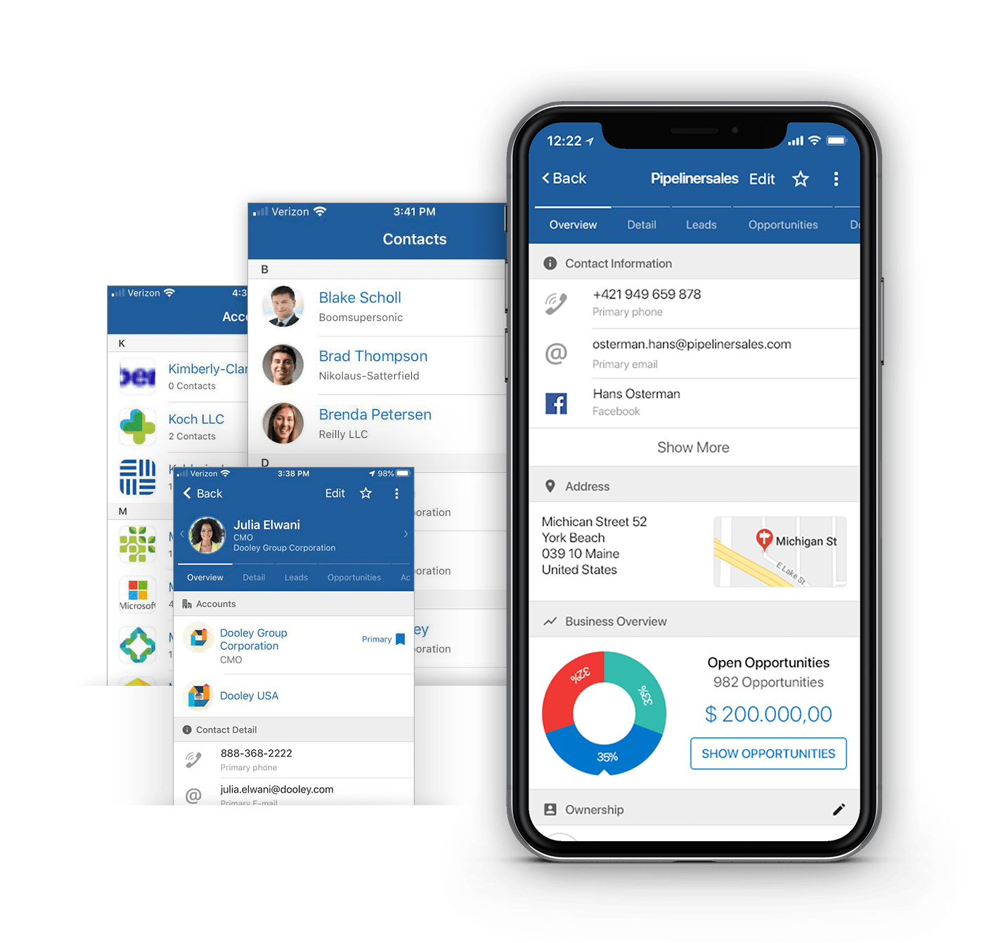 Mobile CRM App accounts & contacts feature