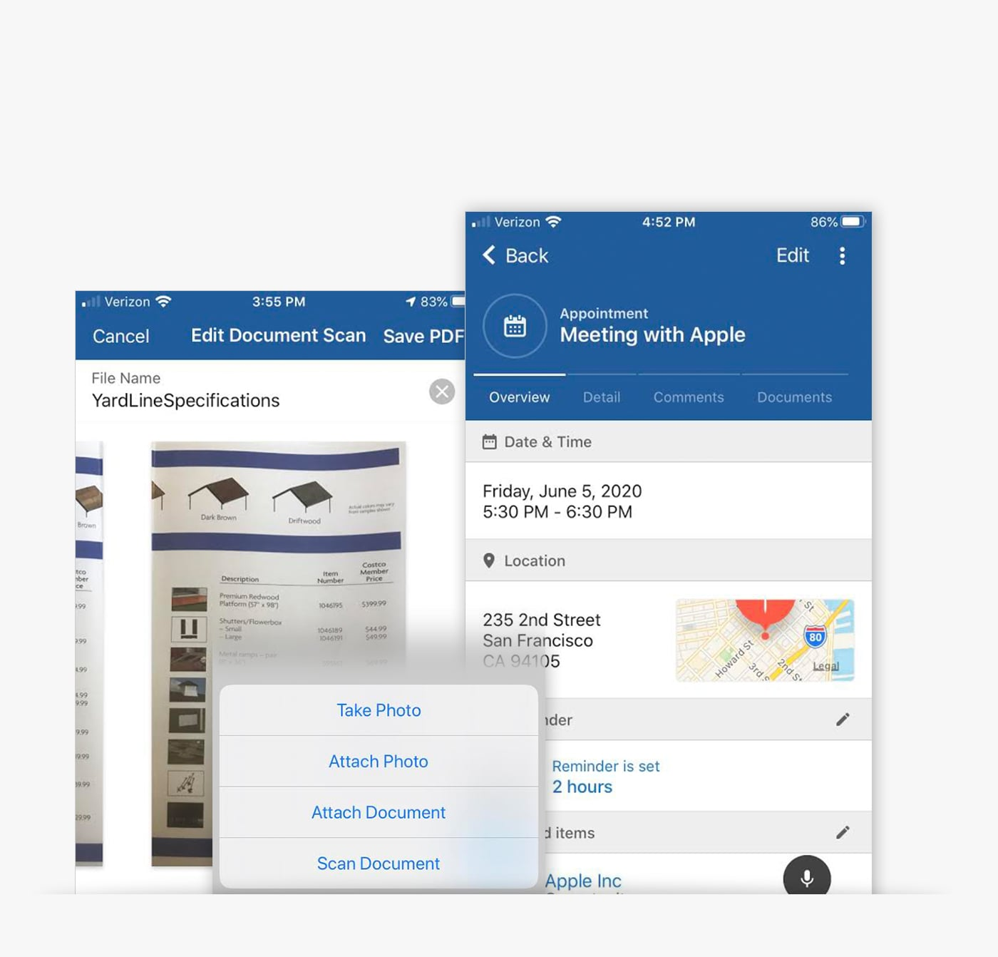 Mobile CRM App features