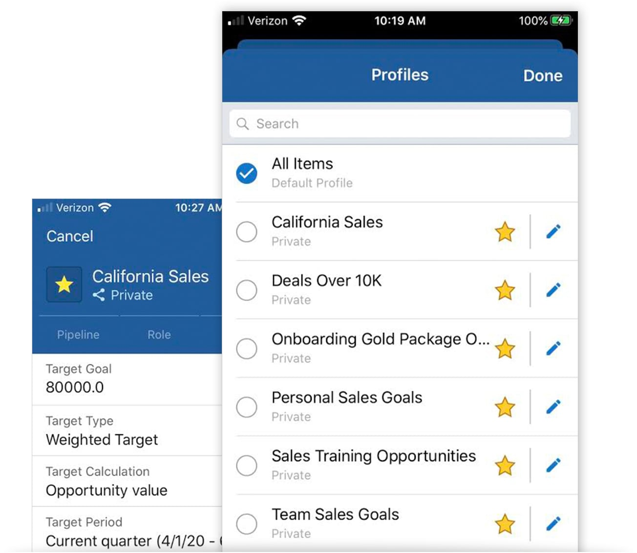 Customize and filter data instantly in a Mobile CRM App