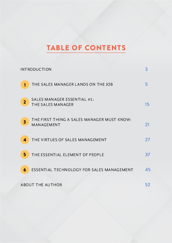 Basic essential of Sales Management table of content