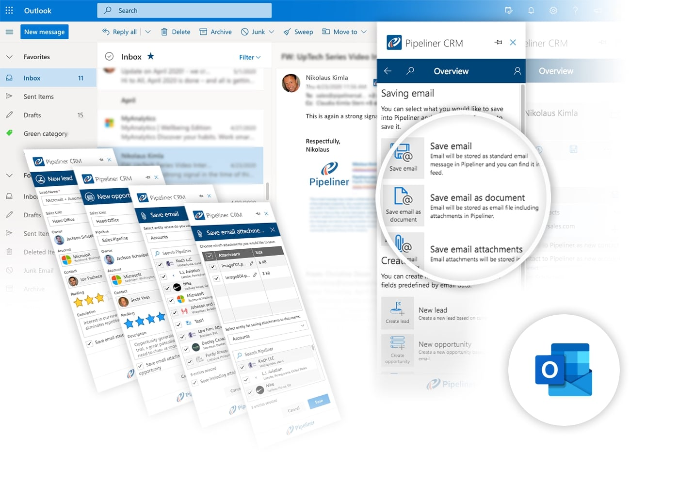 Microsoft 365 Outlook Inbox Add-In integration with Pipeliner CRM