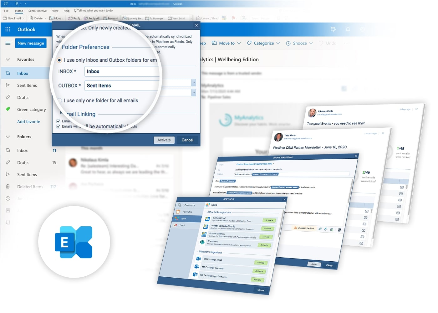 Microsoft 365 & Exchange Email Integrations with Pipeliner CRM software