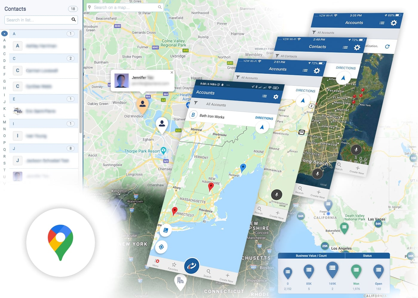 Google Maps Geolocation with Pipeliner CRM