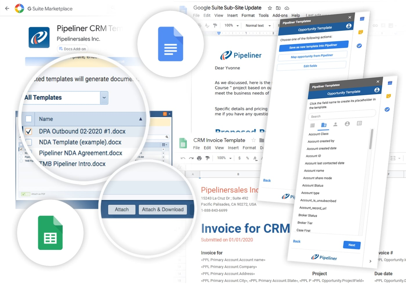 Google Docs and Google Sheets integration with Pipeliner CRM