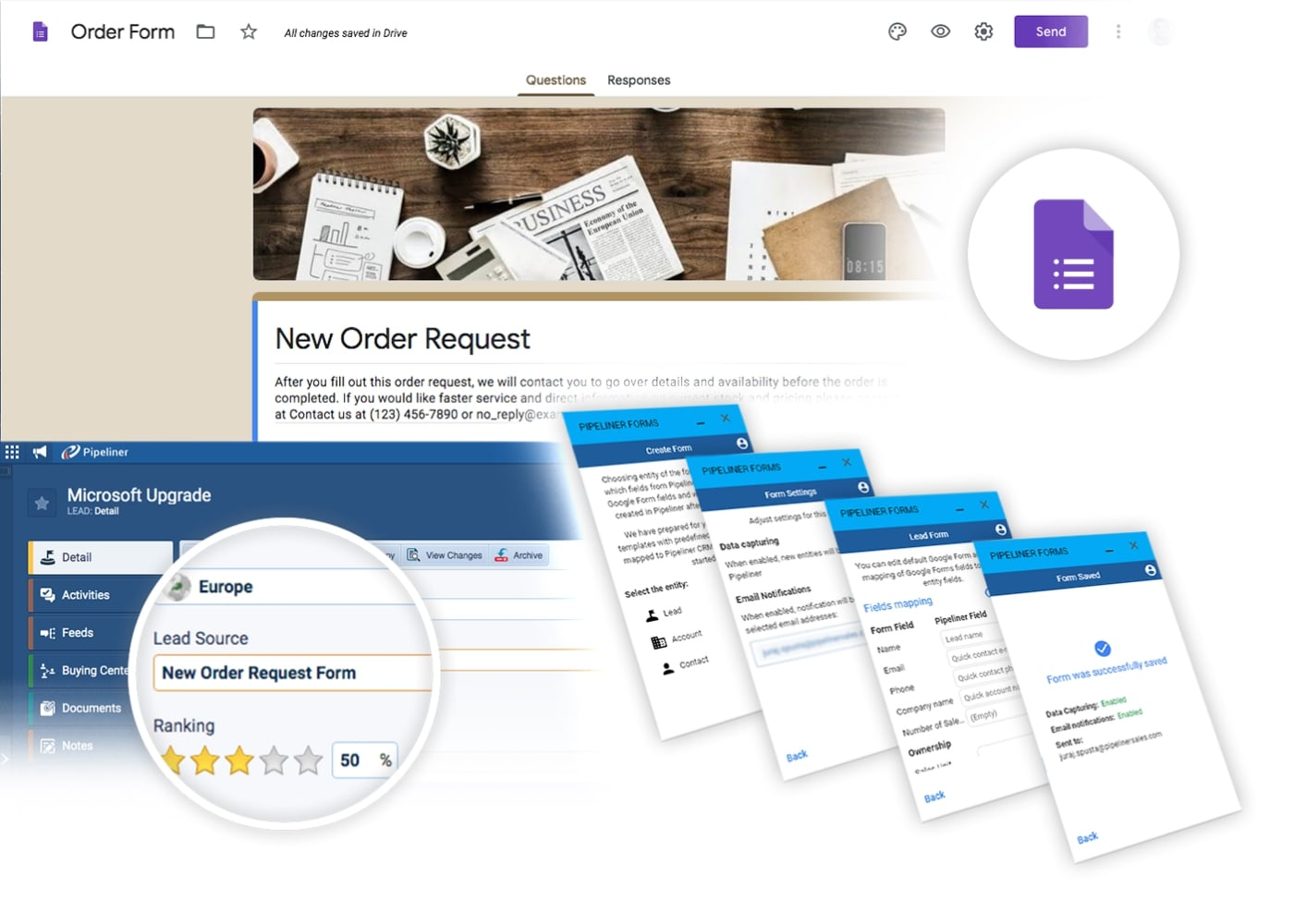 Google Forms Add-In integrates with Pipeliner CRM