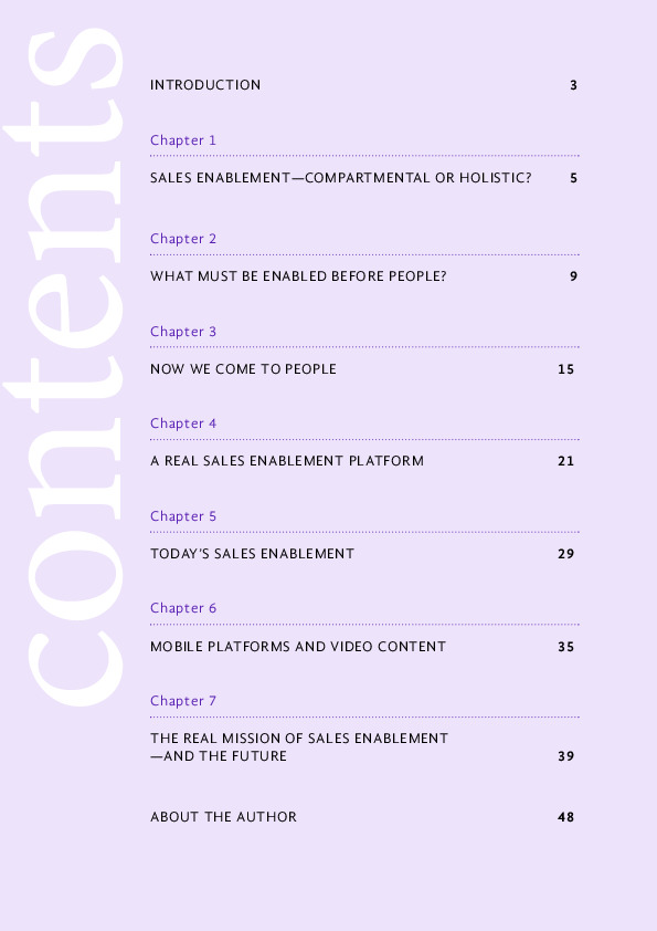 Sales Enablement ebook table of content