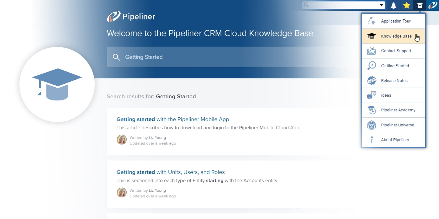 Pipeliner CRM knowledge base full of how to information