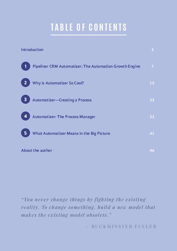 Automatizer table of content ebook