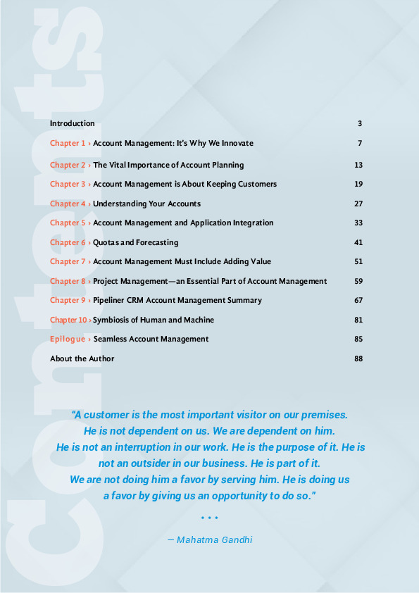 Ebook Account Management in Sales CRM content sheet