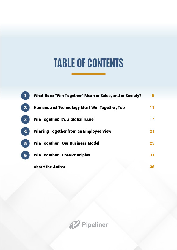 Ebook table of content win together