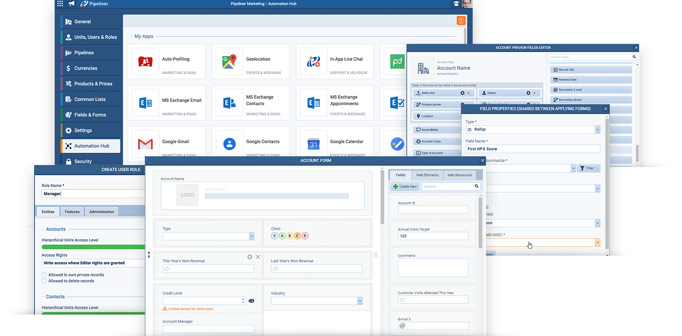 Pipeliner CRM Administration tools
